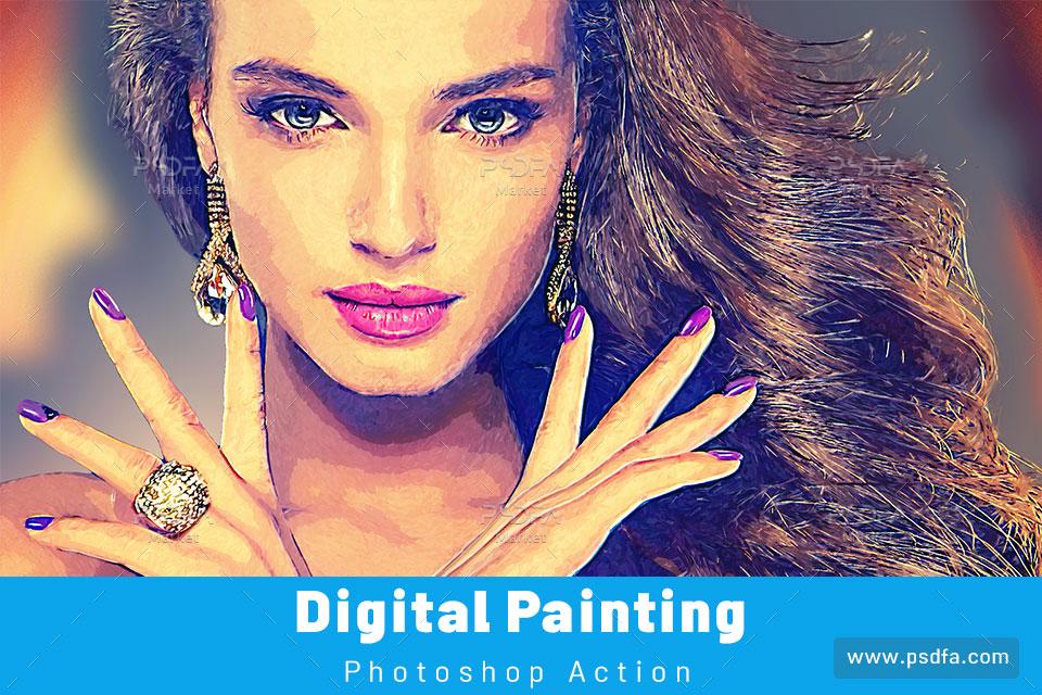 اکشن تبدیل عکس به نقاشی دیجیتال هنری در فتوشاپ
