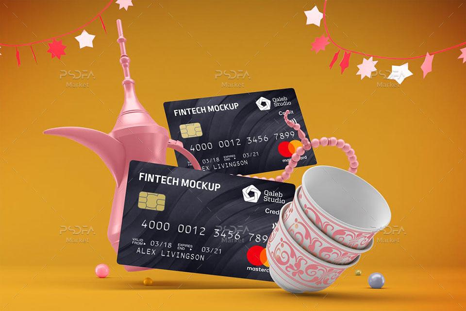 موکاپ کارت بانکی عابر بانک و کردیت کارت