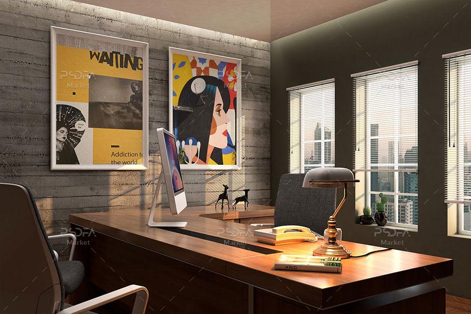 موکاپ تابلو و قاب عکس شیک و زیبا داخل دفتر و شرکت