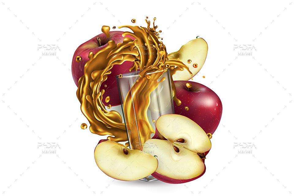 طرح وکتور میوه و آبمیوه خنک و معلق