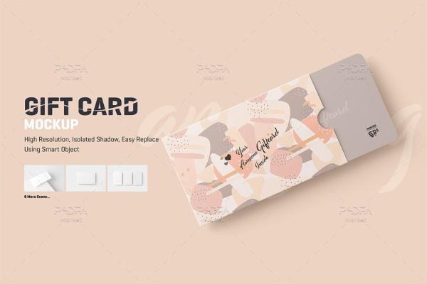 موکاپ کارت هدیه با پاکت