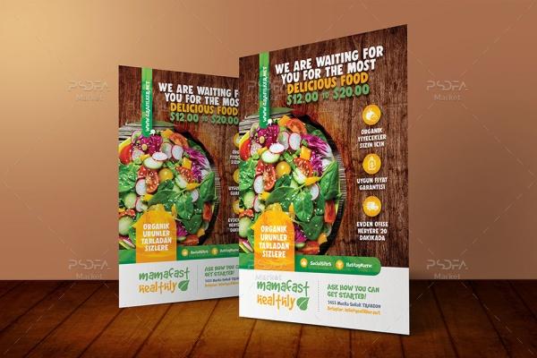 طرح تراکت غذای سبزیجات و سالم