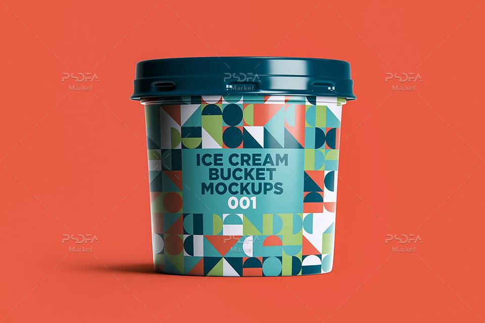 موکاپ سطل پلاستیکی بستنی