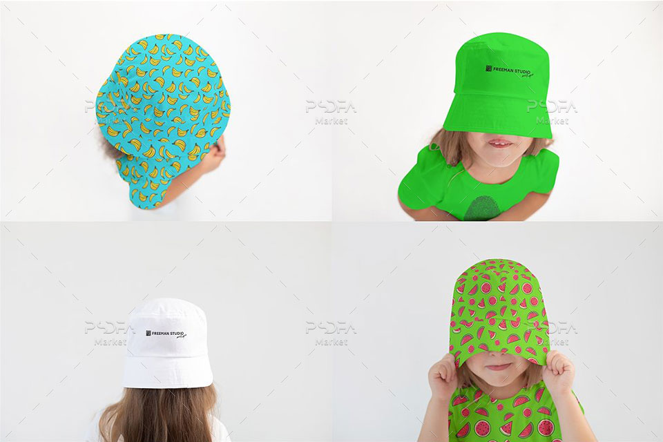 موکاپ کلاه سطلی کودک و بچه گانه