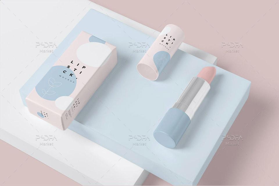 موکاپ رژ لب آرایشی با کارتن و جعبه