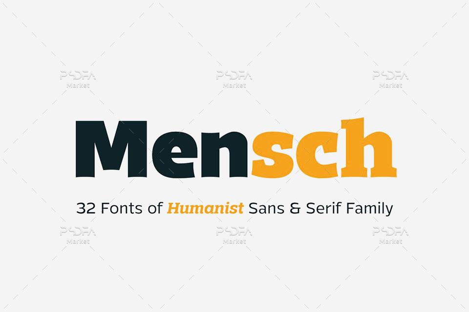 فونت سنس سریف انگلیسی Mensch شامل 32 فونت با وزنهای مختلف