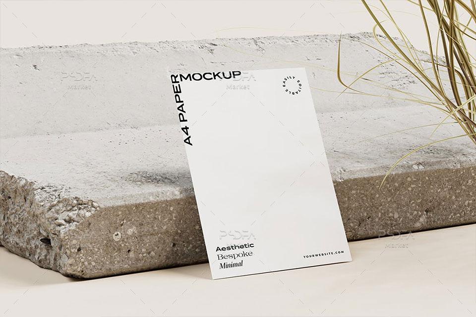 موکاپ کاغذ و برگه A4 مینیمال