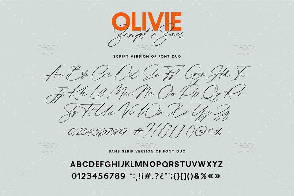 فونت اسکریپت دستنویس Olivie