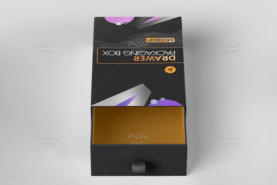 موکاپ جعبه و کارتن بسته بندی محصول کشویی