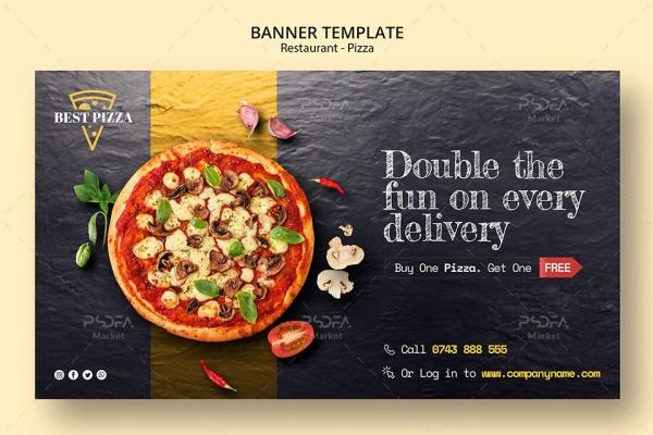 بنر تبلیغاتی پیتزا رستوران و فست فود