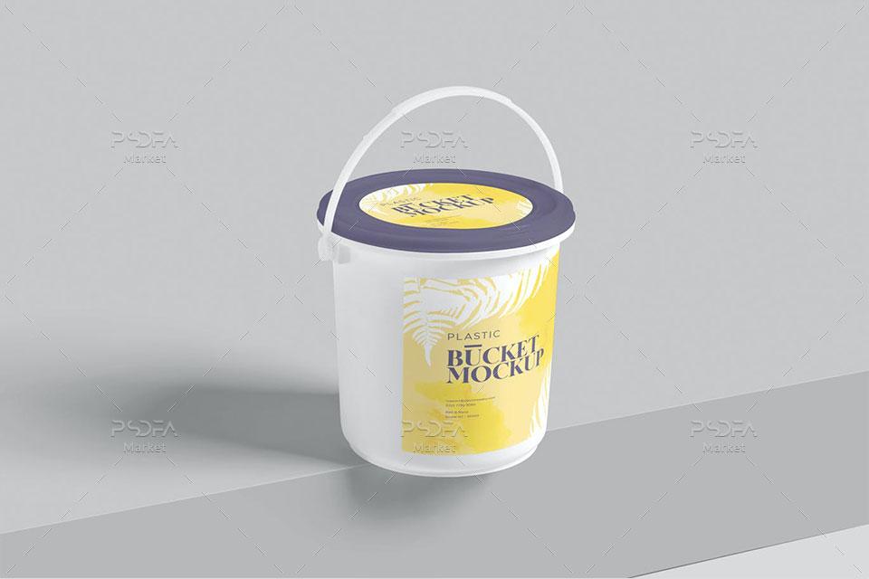 موکاپ سطل ماست و لبنیات پلاستیکی دسته دار