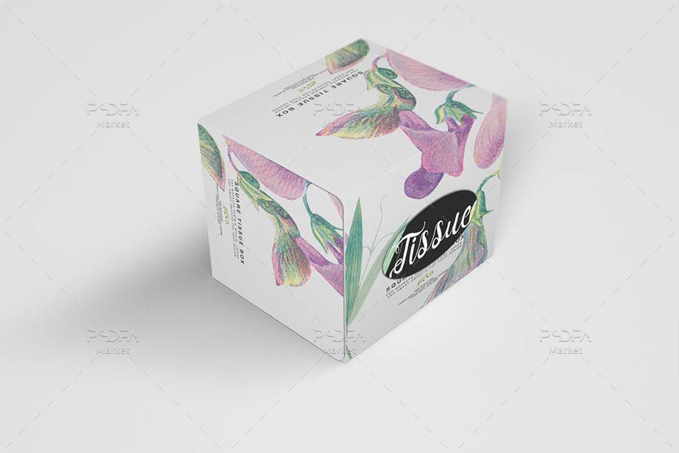 موکاپ جعبه دستمال کاغذی مکعبی