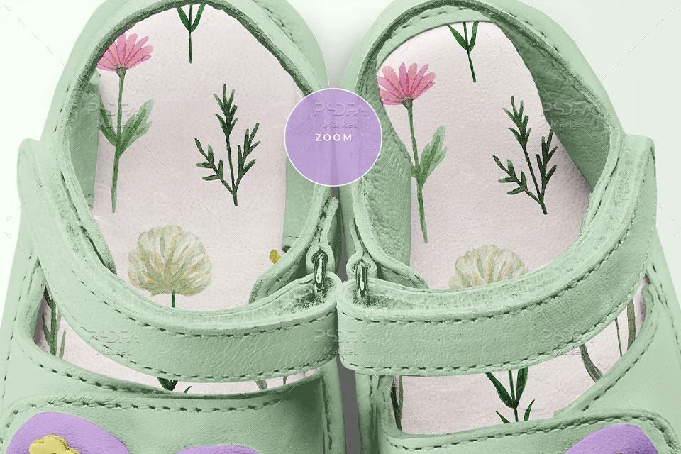 موکاپ کفش و صندل بندی پاپیون دار بچهگانه دخترانه