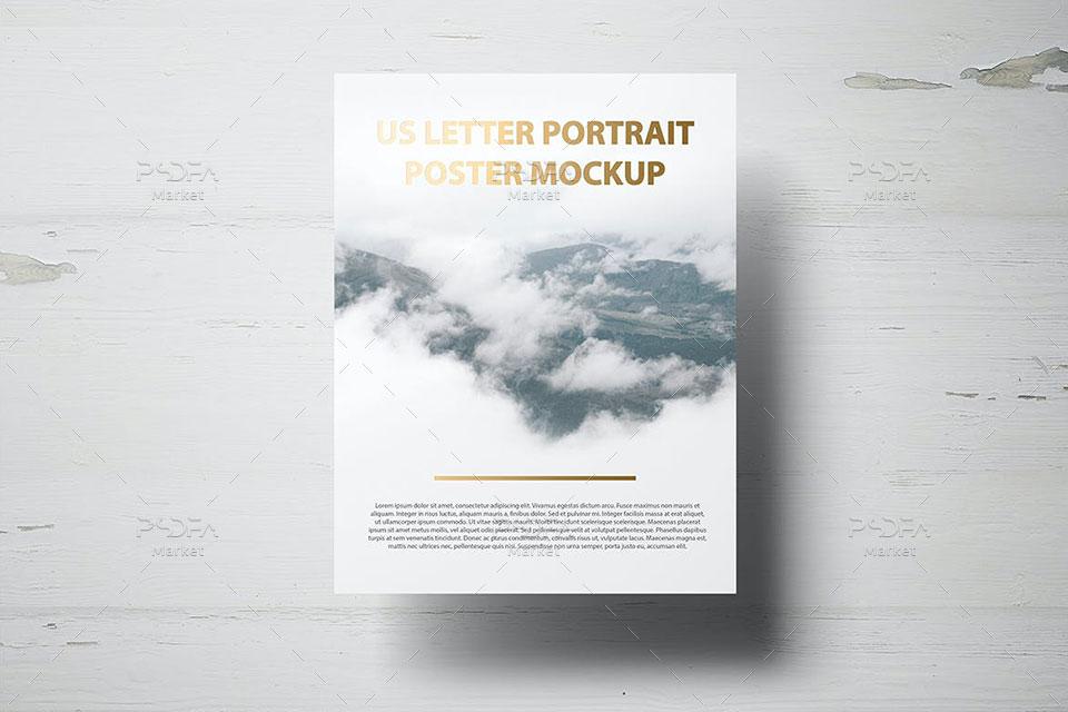 موکاپ تراکت پوستر و سربرگ US Letter