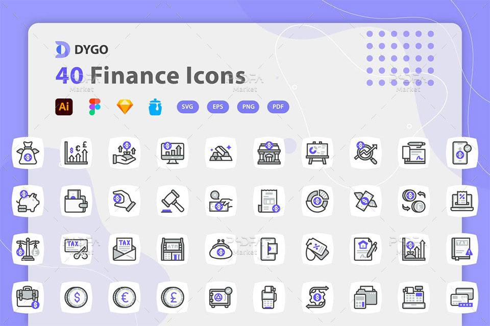 40 آیکون دارایی مالیه و سرمایه گذاری لایه باز وکتور Finance Icons