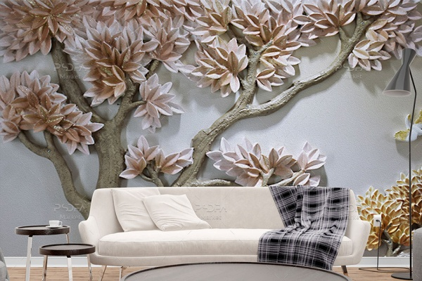 طرح پوستر دیواری نقش برجسته درخت و پرنده