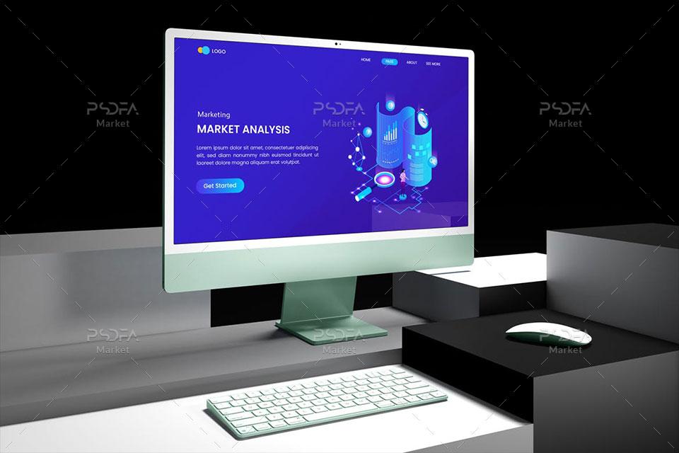 موکاپ آی مک iMac بر روی سطوح
