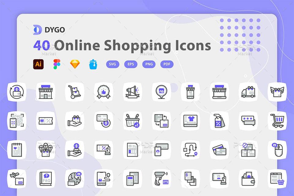 آیکون فروشگاه آنلاین و اینترنتی