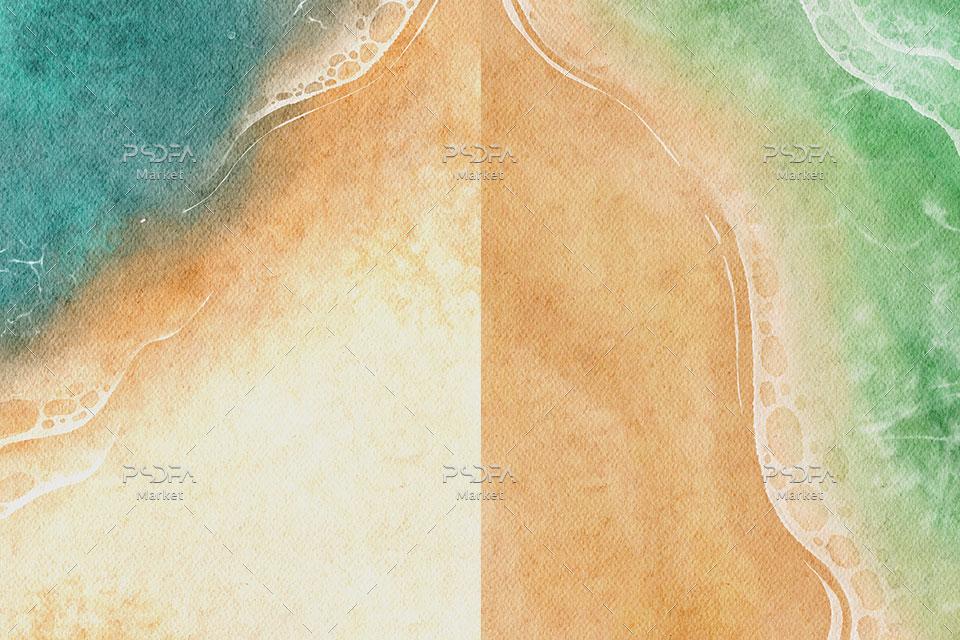بک گراند آبرنگی ساحل دریا