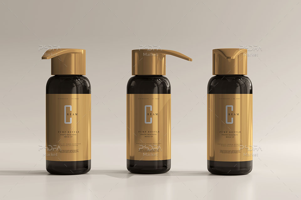 موکاپ بطری شیشهای و پمپی آرایشی و بهداشتی