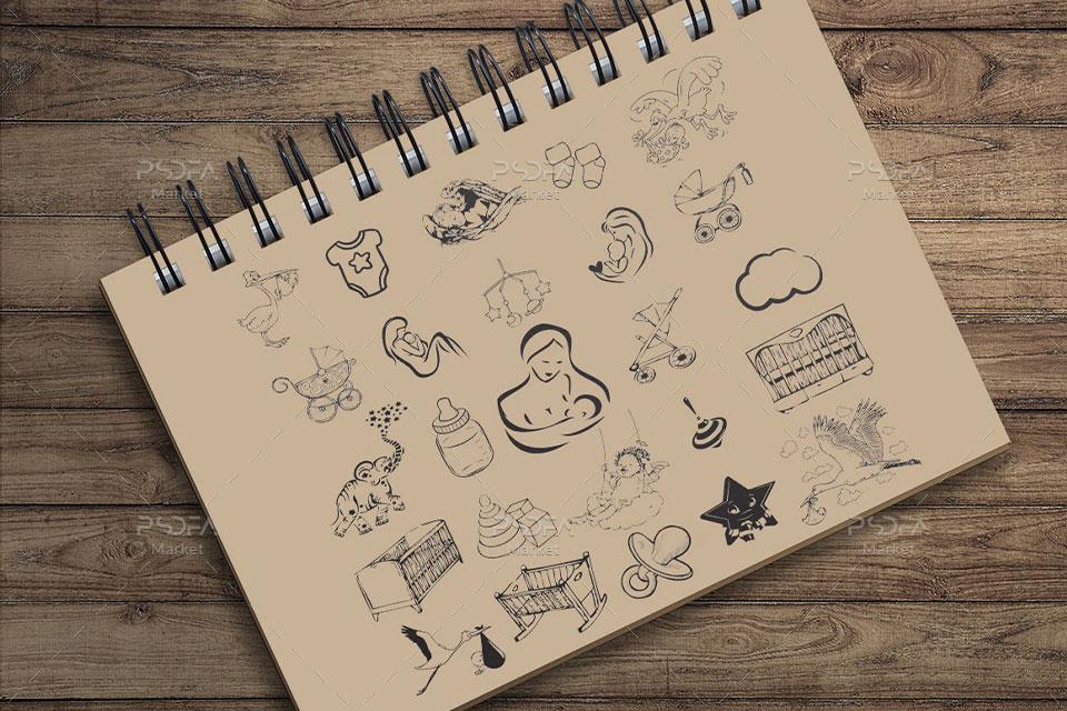 عناصر وکتور طراحی تصاویر کودکانه