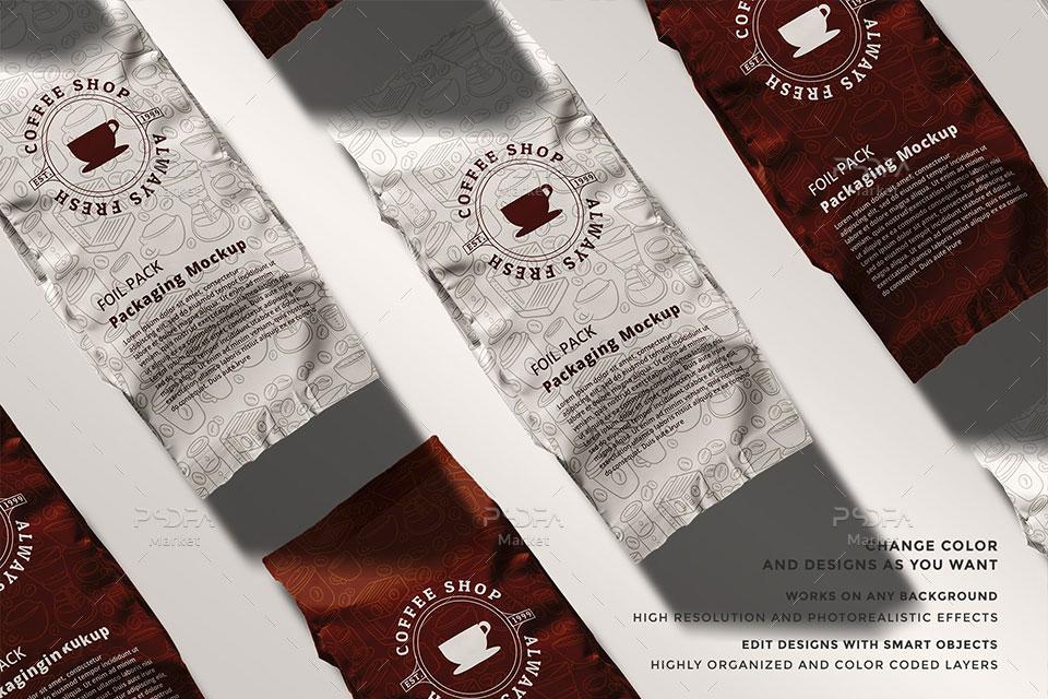 موکاپ پاکت فویلی بسته بندی چای و قهوه