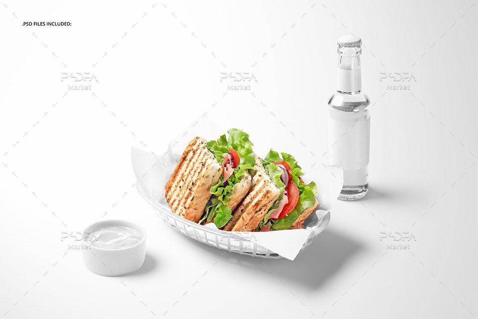 موکاپ کاغذ بسته بندی غذا و ساندویچ