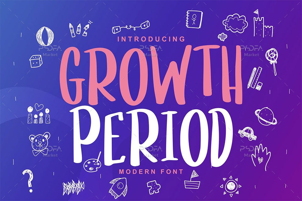 فونت مدرن کودکانه و کارتونی Growth Period
