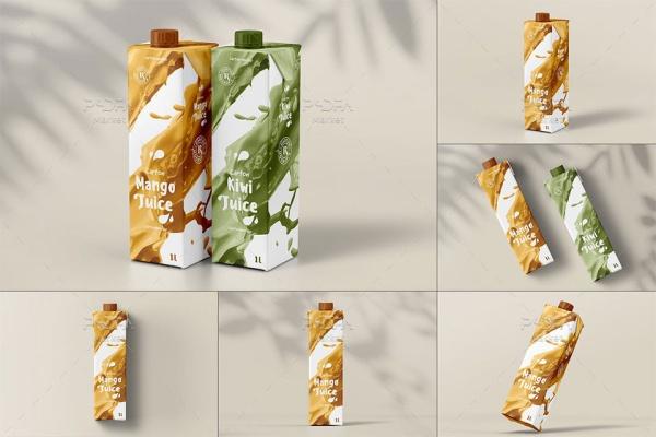 موکاپ پاکت شیر و آبمیوه درب دار