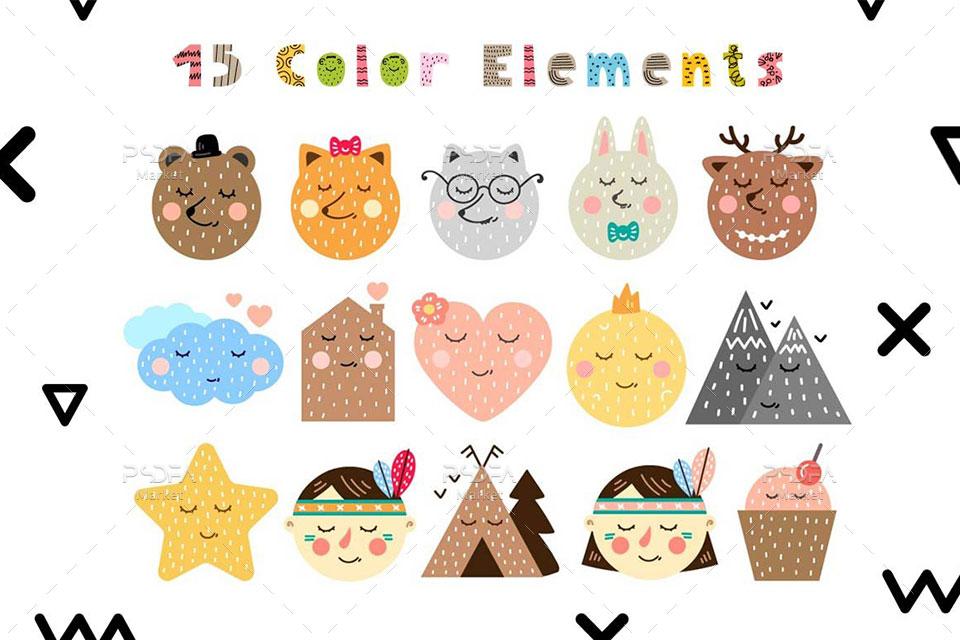 فونت فانتزی رنگی Lazy Olov و عناصر طراحی کودکانه
