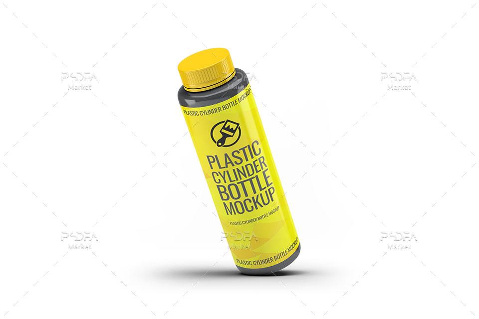 موکاپ بطری پلاستیکی استوانهای
