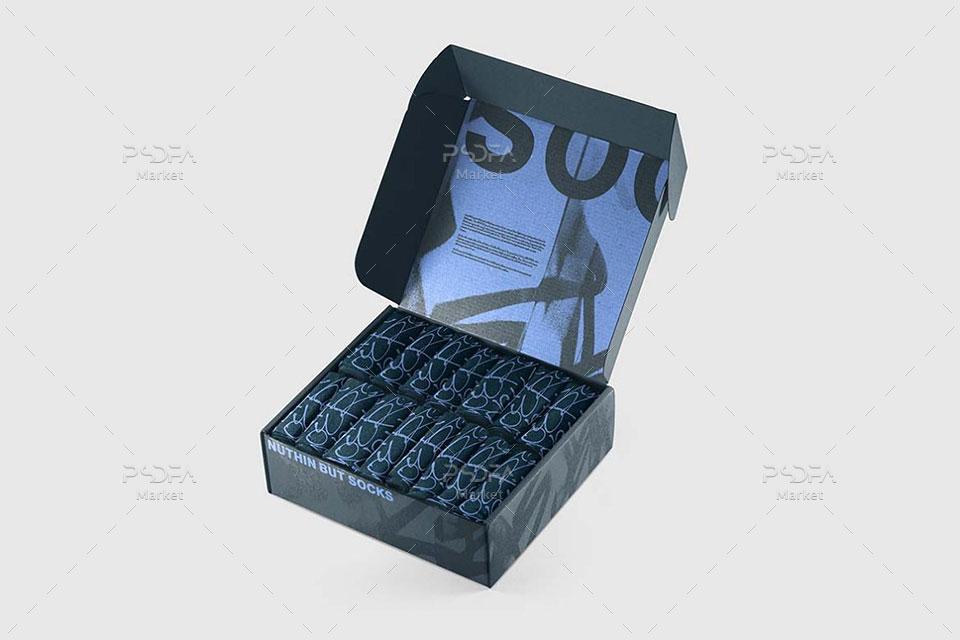 ست موکاپ جوارب با جعبه