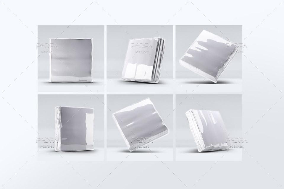 موکاپ بسته بندی دستمال کاغذی مربعی