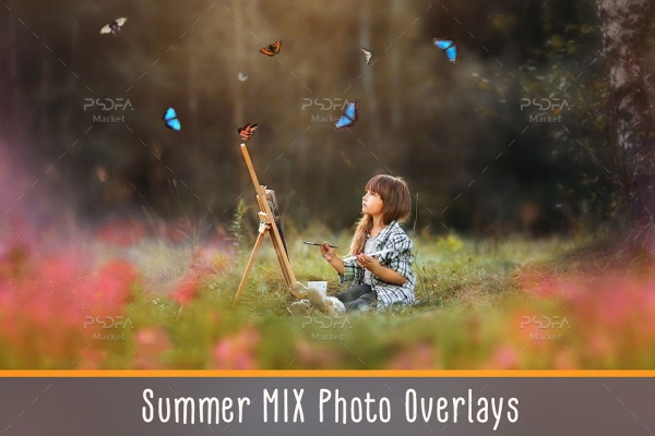 مجموعه افکت گل و بوته، پروانه، آسمان و جلوههای نوری