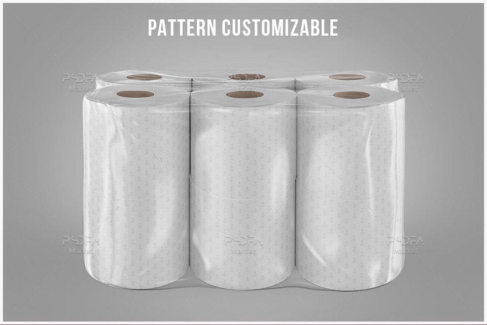 موکاپ بسته بندی دستمال کاغذی رولی توالت