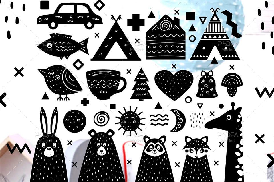فونت فانتزی Yeti با پترن و عناصر طراحی کودکانه