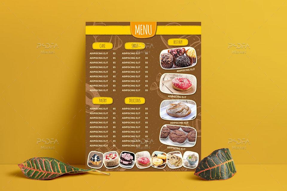 طرح لایه باز منوی شیرینی فروشی و نانوایی