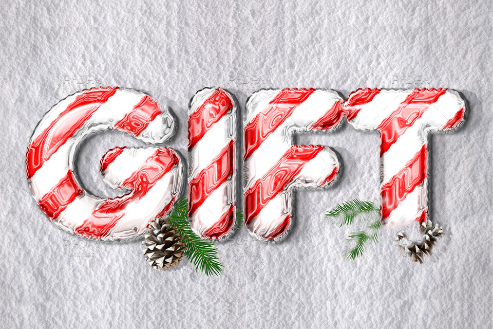 افکت و استایل متن کریسمس، هدیه و جشن تولد