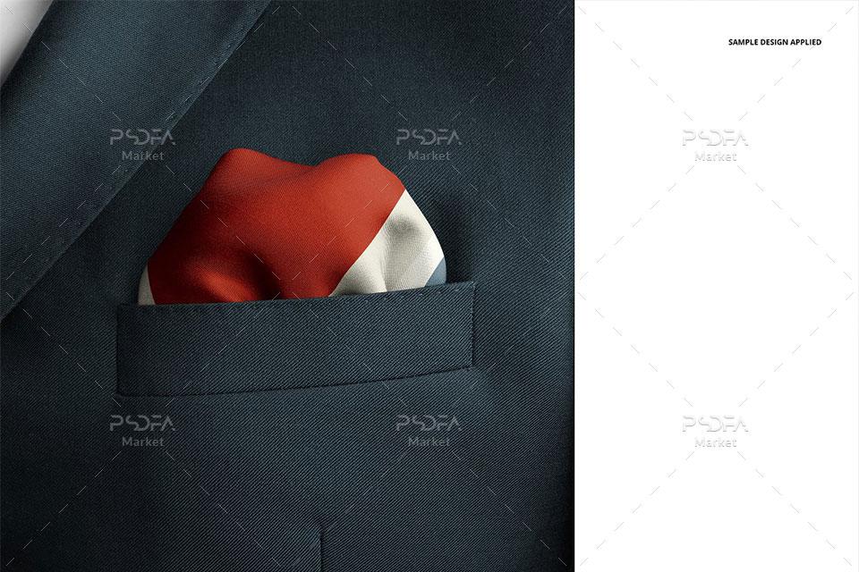 موکاپ پوشت دستمال جیب کت