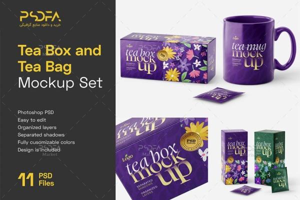 موکاپ بسته بندی چای کیسهای