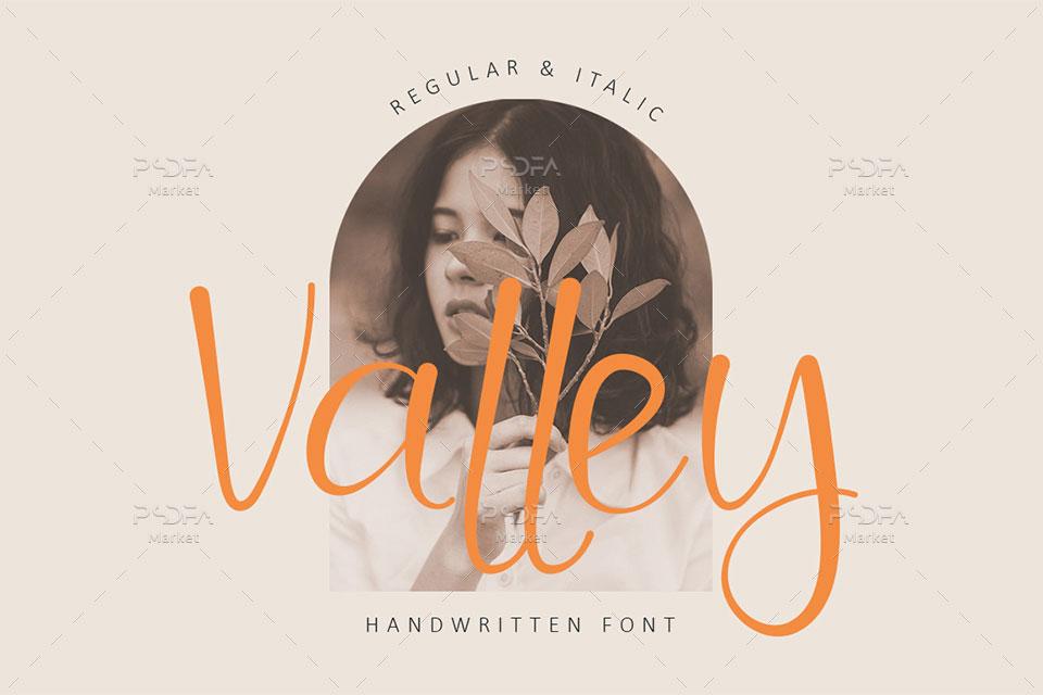 فونت دستنویس رمانتیک و دوست داشتنی Valley