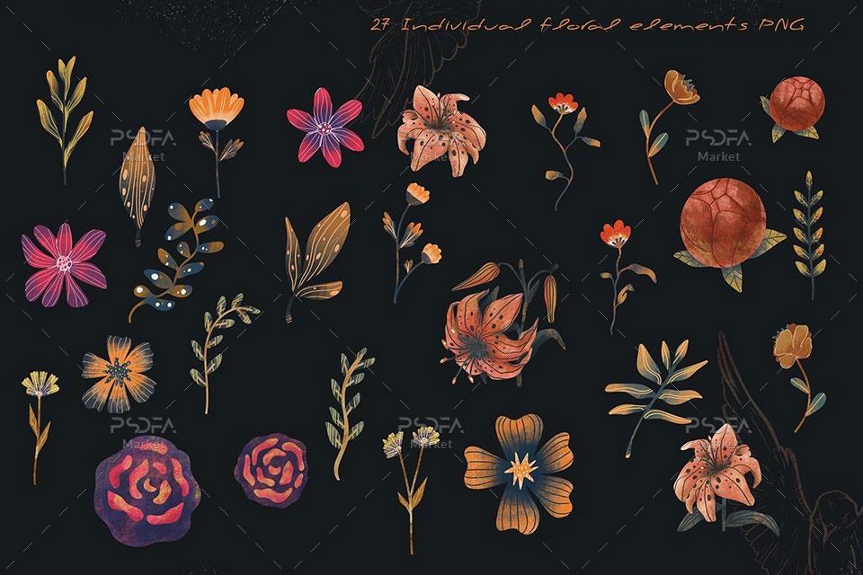 طرح فانتزی و رمانتیک گل و بوته